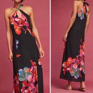 •nwt• Anthro's Maeve cayman silk maxi dress